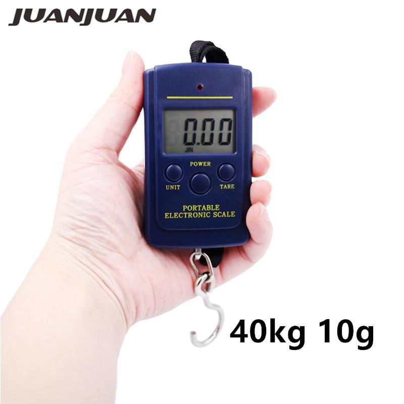 40kg 10g Báscula digital Balanza electrónica portátil Pescado digital Gancho de equipaje Escalas colgantes 25% de descuento