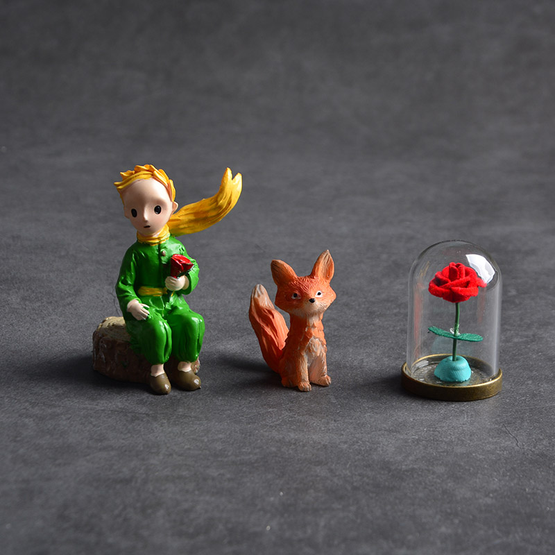 Фигурка милого Маленького принца, роза, лиса, Статуэтка из смолы, Коллекционная модель, кукла для девочек и мальчиков, подарок, украшение для...