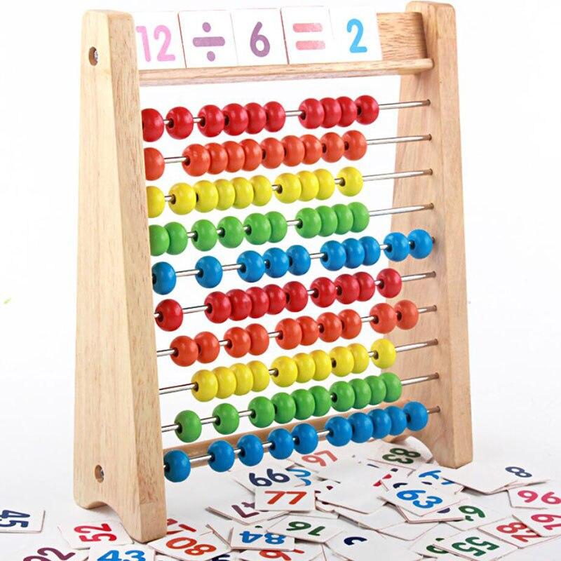 novo estilo de madeira criancas contas arco iris abaco aritmetica calculo puzzle operacao matematica brinquedos aprendizagem