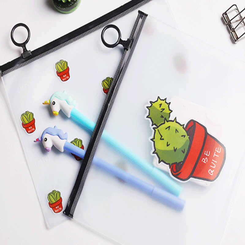 1 Pcs/lot Cartoon Cactus File Folder Clear PVC Zipper Bag Document Organizer Transparente Material Escolar School Supplies