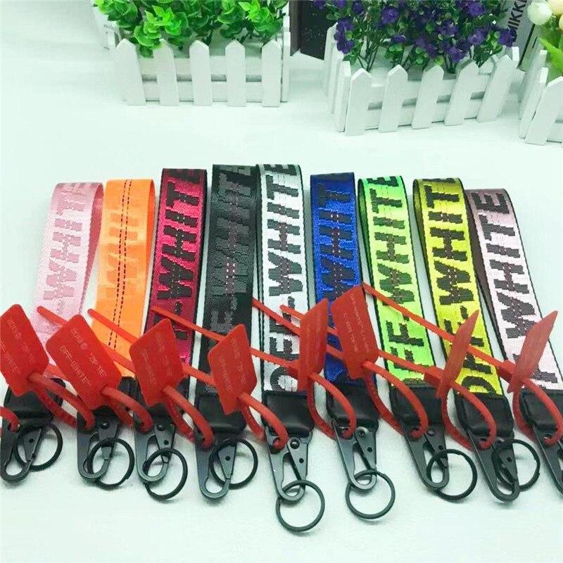 Orange OW Keychain Transparent PVC Jeans Mobile Phone Camera Bag Pendant
