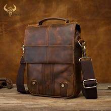 """Kwaliteit Lederen Mannelijke Casual Design Schouder Tas Koeienhuid Mode Cross Body Bag 8 """"Tablet Tote Mochila Satchel bag 152"""
