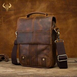 "Image 1 - Quality Leather Male Casual Design Shoulder Messenger bag Cowhide Fashion Cross body Bag 8"" Tablet Tote Mochila Satchel bag 152"