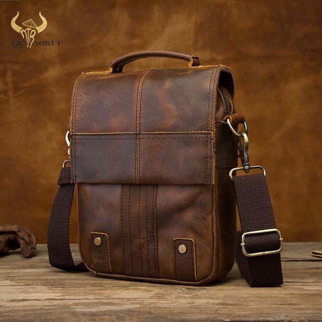 "Quality Leather Male Casual Design Shoulder Messenger bag Cowhide Fashion Cross body Bag 8"" Tablet Tote Mochila Satchel bag 152"