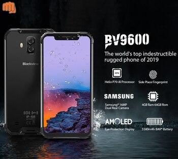 Перейти на Алиэкспресс и купить Blackview Новый BV9600 водонепроницаемый мобильный телефон Helio P70 Android 9,0 4 Гб + 64 Гб 6,21 дюйм19:9 AMOLED 5580 мАч прочный смартфон