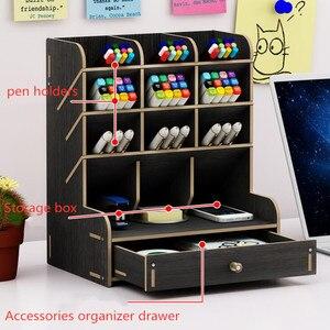 Image 3 - Sharkbang insigne de bureau en bois, porte crayon, articles divers, porte boîte de rangement, papeterie de bureau