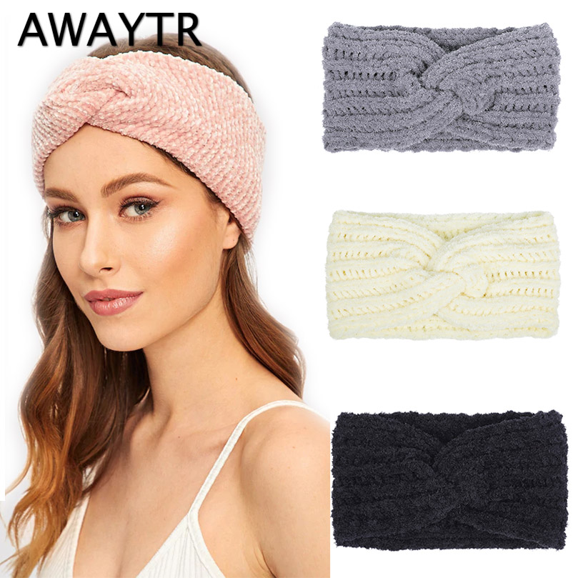AWAYTR Winter Ear Warmer Headband Women Elastic Knitted Turban For Lady Women Crochet Bow Wide Stretch Hairband Haarband Winter