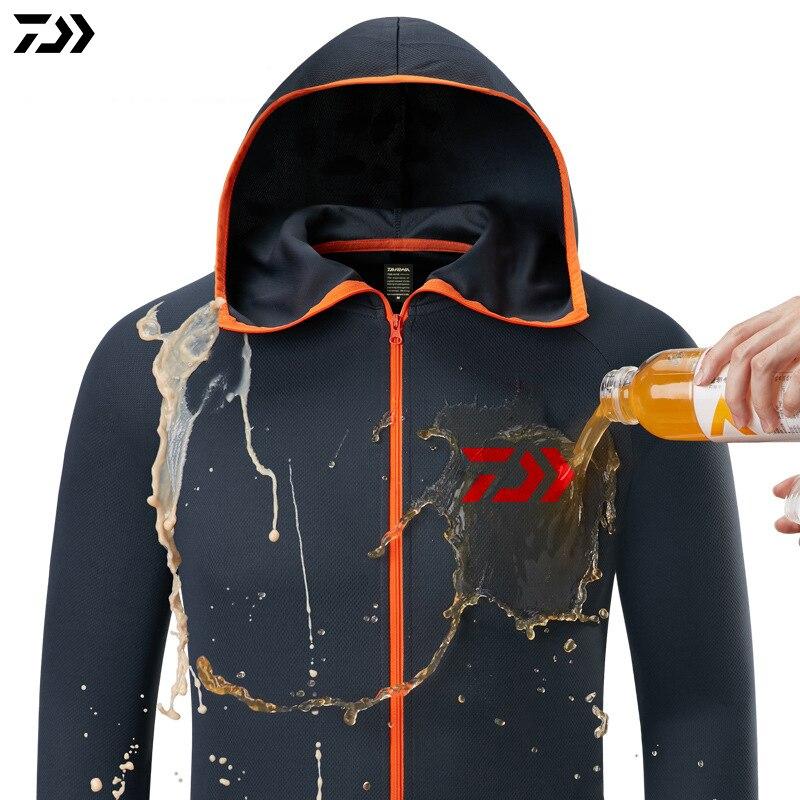 Camisa de pesca transpirable Daiwa, camisas de pesca impermeables para hombres, chaqueta de pesca de manga larga, ropa de pesca de secado rápido