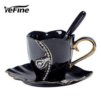 YEFINE Diamonds Design Coffee Mug Creative Gift Lovers Tea Cups 3D Ceramic Mugs With Rhinestones Decoration And Saucers - discount item  48% OFF Kitchen,Dining & Bar