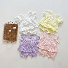 2021 Summer New Toddler Baby Girl Lace Embroidered Collar Short Sleeve Pajamas Tops + Kid Solid Thin Shorts 2pcs Clothes