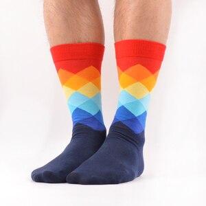 Image 5 - SANZETTI, 12 pares de calcetines de algodón peinado Argyle coloridos para hombres, divertidos calcetines de diseño a rayas de punto Multi conjunto de vestido Casual, calcetines de tripulación