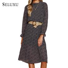 Seluxu 2019 Fall Autumn Women Dress Wrist Sleeve High Waist Dress Dot Boho Dress Sashes Ruffle Floral Print  Women Dress