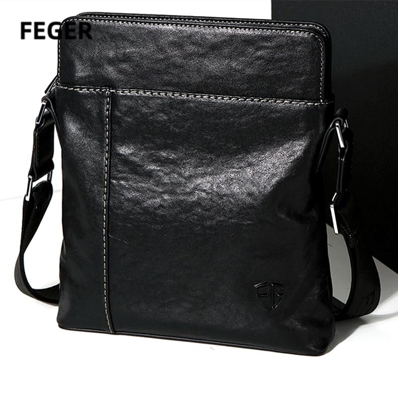 FEGER Men messenger bags Shoulder Bag Male Crossbody Bags Man Genuine Leather handbag notebook men