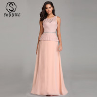 Skyyue Bridesmaid Dress Sleeveless Elegant A Line O Neck Embroidery Bridesmaid Gown 2019 Chiffon Wedding Party Dresses C453