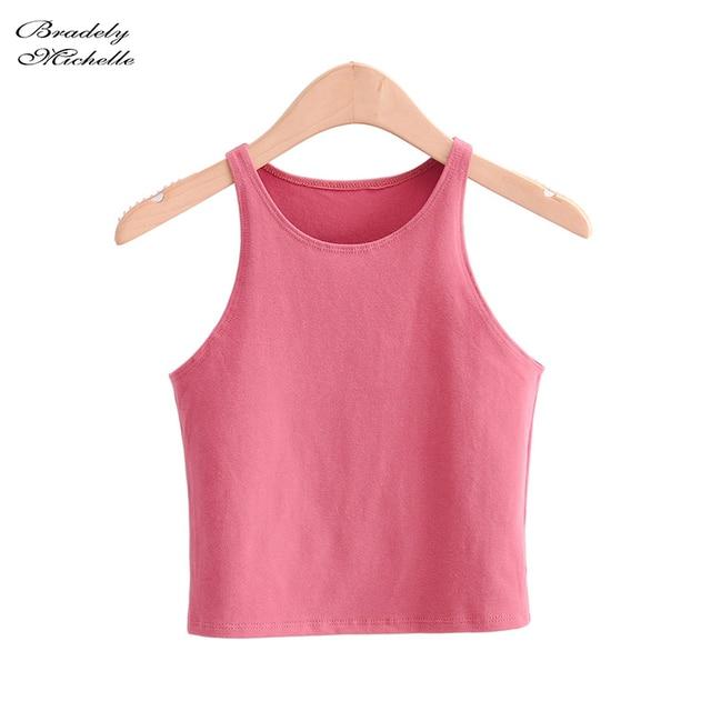 BRADELY MICHELLE 2020 Summer Sexy Women's Streetwear Crop Top Elastic Cotton sleeveless O-neck Solid Short Tank Bar 3