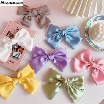 2020 New Fashion Big Large Barrette Bow Hairpin Soft Chiffon Hairgrips For Women Girls Satin Hair Clip Sweet Hair Accessories big large barrette two levels chiffon hair bow love heart hair clip for women girls hairgrips sweet new fashion hair accessories