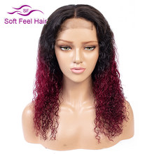 Ombre 4*4 Lace Closure Wig T1B/Burgundy Pre Plucked Human Hair Wigs For Black Women 99J Remy Brazilian Hair Wig Soft Feel Hair(China)