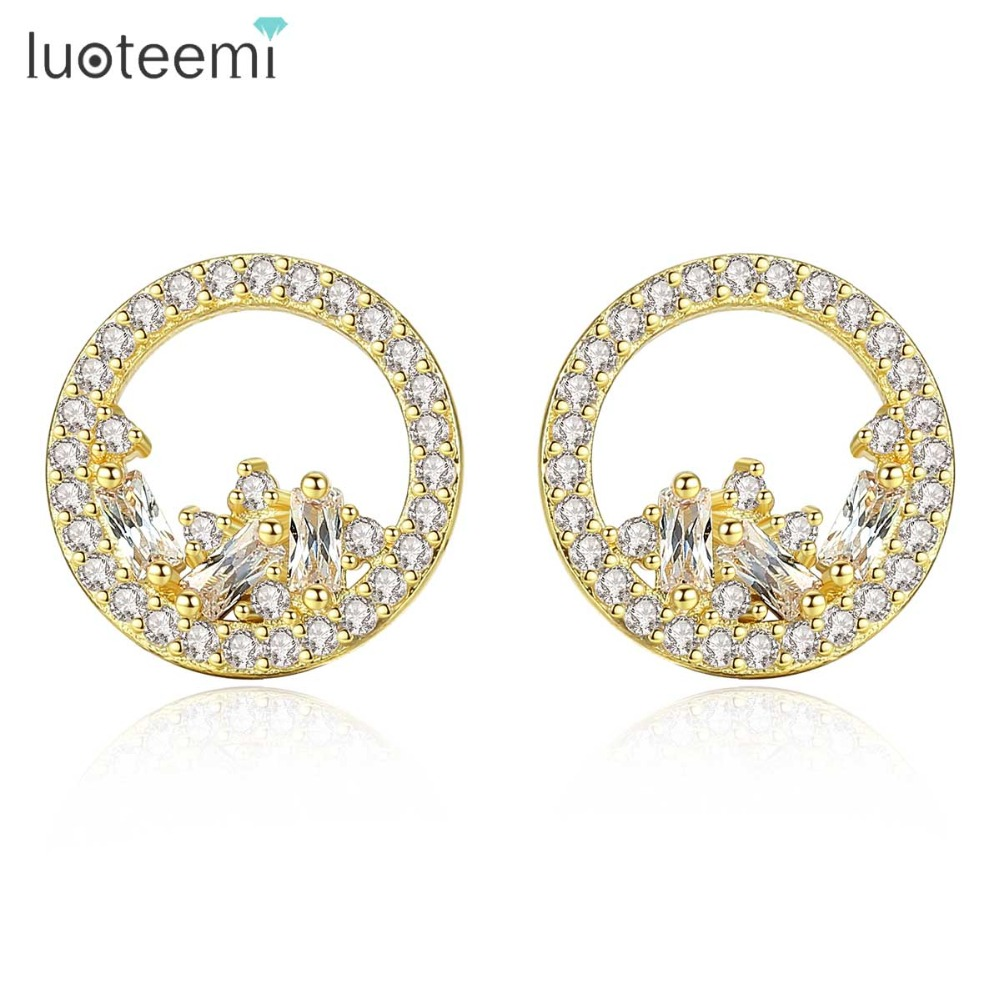LUOTEEMI Small Round Stud Earrings for Women Wedding Party Two Colors Female Jewelry Exquisite Aretes De Mujer Christmas Gifts