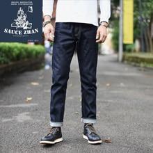 جينز رجالي SauceZhan 310XX HS جينز ضيق مناسب من Selvedge جينز جينز جينز نيلي خام من الدنيم جينز رجالي شحن مجاني