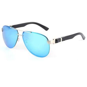 2020 Retro Blue Polarized Men Sunglasses UV400 Mirror Rimless Driving Sunglasses Come With Box