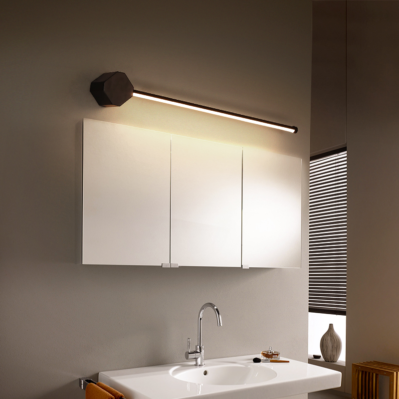 Işıklar ve Aydınlatma'ten LED İç Mekan Duvar Lambaları'de Yeni varış modern LED banyo aynası ışıkları L400/600/800mm siyah veya beyaz renk ayna tuvalet 110V 220V ayna lamba armatürleri title=