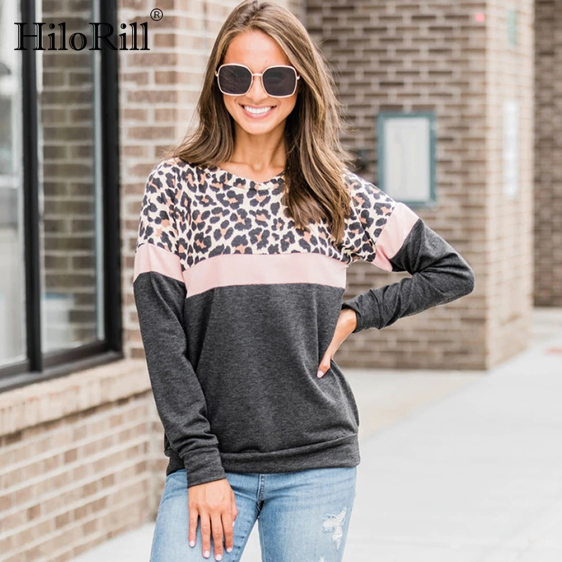 Women Hoodies Leopard Striped Patchwork Sweatshirt Autumn 2019 Fashion Long Sleeve O Neck Pullover Casual Female Streetwear Tops