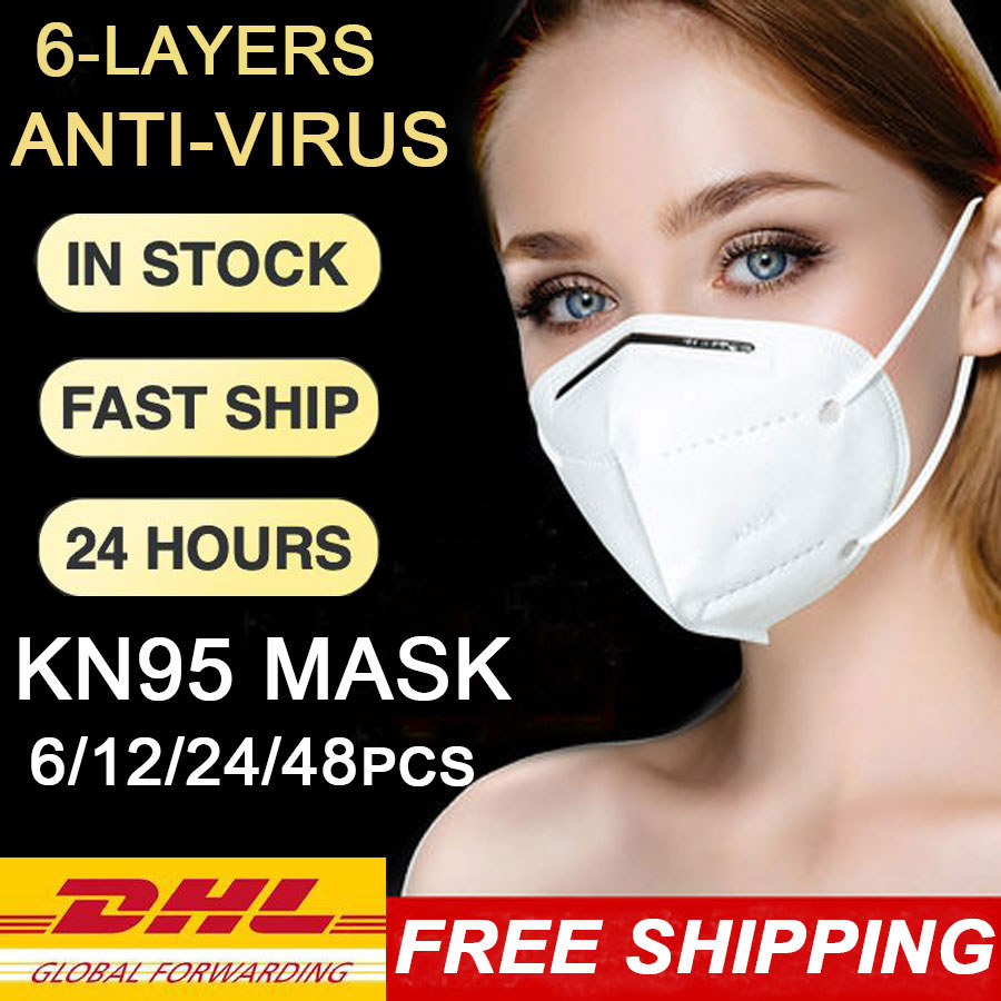 Face Mask DHL Shipping 12Pcs Disposable Mouth Face Masks KN95 PM2.5 Filtration Non-woven Fabric Protective Masks For Hair Salon
