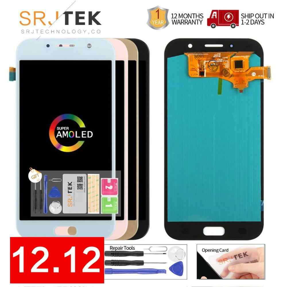 100% Super AMOLED LCD Für Samsung Galaxy A7 2017 A720 A720F SM-A720F LCD Display Touchscreen Digitizer Montage