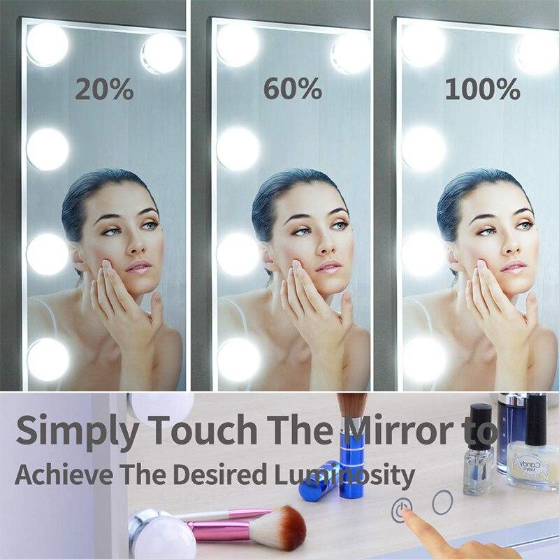 Зеркало для макияжа в голливудском стиле с подсветкой, косметическое зеркало 9x3 Вт с регулируемой яркостью, светодиодный светильник с 10х то... - 4