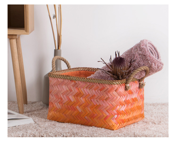 Handmade stylish personality pink orange bamboo square storage basket with handle