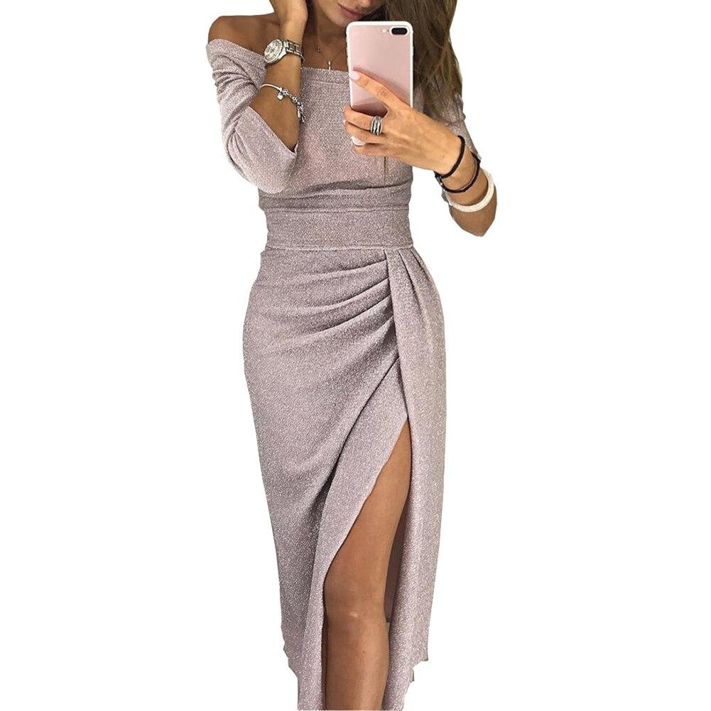 H02a27a7875114f8cb833473c7d44d61f2 New Evening Party Sexy Women Off Shoulder High Split 3/4 Sleeve Bodycon Maxi Dress