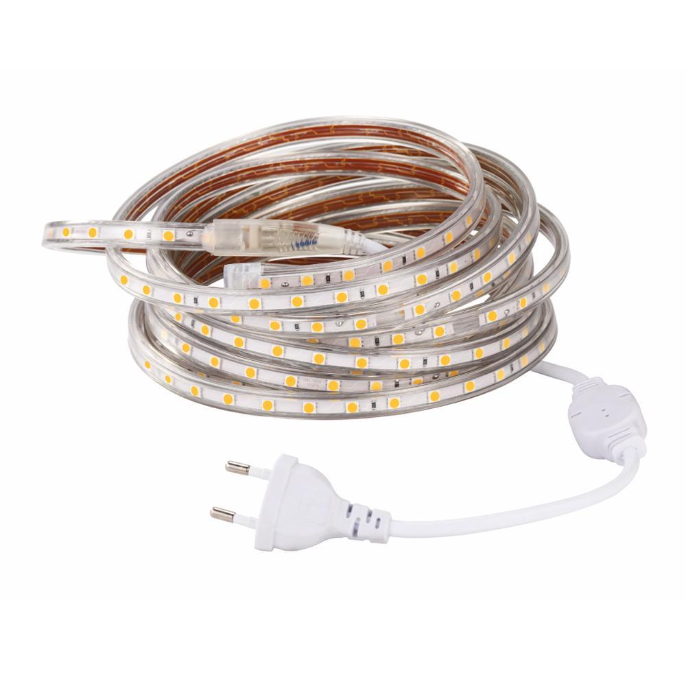 A fita conduzida flexível impermeável 60led/m da fita da tira 5050 v do diodo emissor de luz de smd 220 conduziu a iluminação exterior 1 m 2 m 3 m 5 m 8 m 10 m 15 m 18 m 20 m 22 m 23 m 25 m