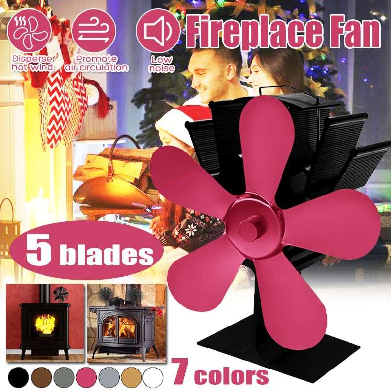 5 Blades Heat Powered Stove Fan Log Wood Burner Eco Friendly Fan Quiet Black Home Fireplace Fan Efficient Heat Distribution
