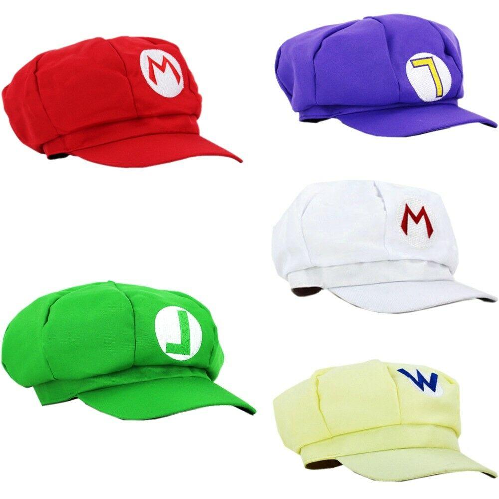 Super Mario Bros Anime Octagonal Hat Cap Luigi Super Mario Odyssey Hats Carnival Party Baseball Costume Pros Adult Kids Size
