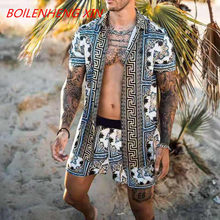 Novos conjuntos havaianos impressão 2021 verão manga curta botão camisa praia shorts streetwear casual masculino terno 2 peças incerun