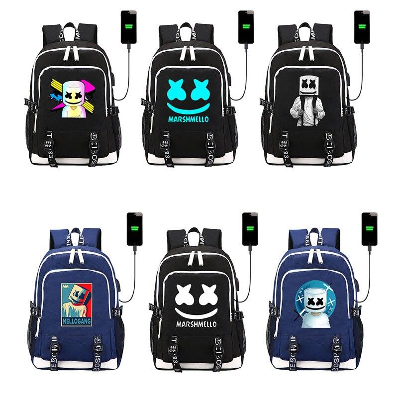 HOT USA DJ Marshmello toile sac à dos Dotcom WaVeZ Me trouver fans étudiant cartable lumineux la nuit Laptopbag USB charge