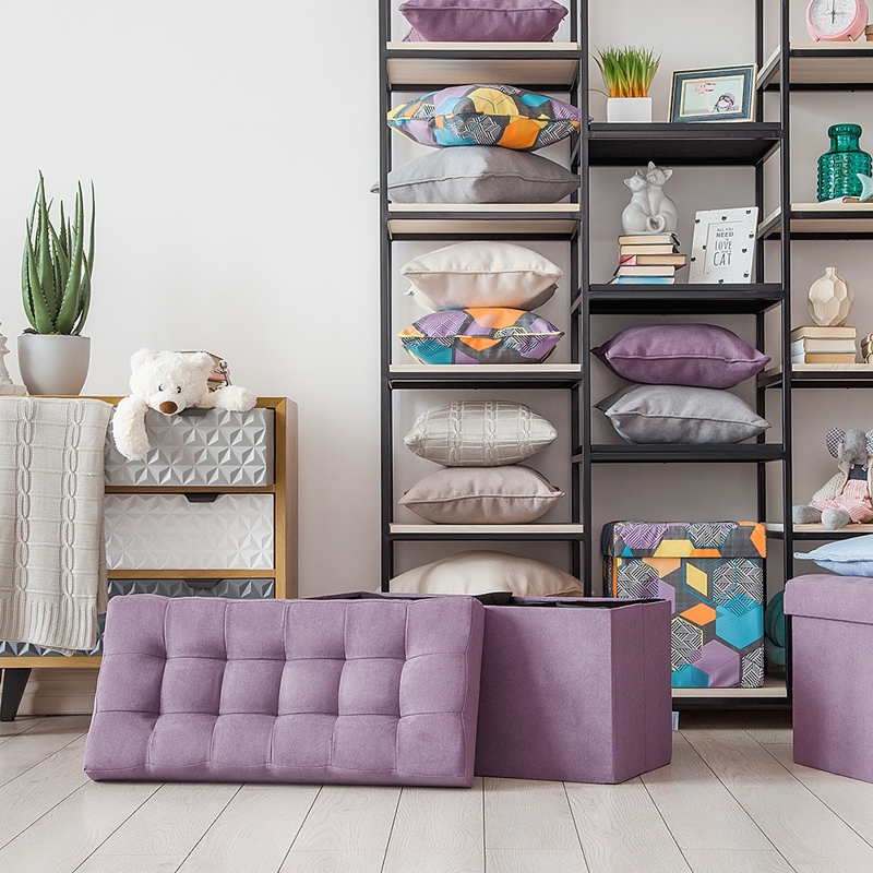 Delhi-obuvnitsa Delicatex Lilac Home Soft Comfort Folding Multi-function Storage Box With Lid Organizer Pouf Comfortable Ottoman For Children Footrest Fabric Small Chair Living Room Hallway Furniture Tabouret Banquette