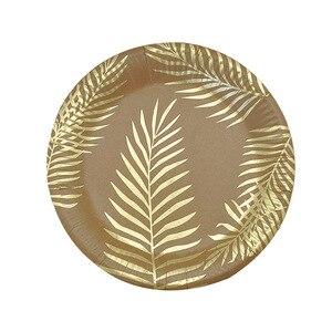 Image 4 - Conjunto para mesa de papel Kraft desechable, color dorado, placa con patrón de hoja de palma, taza, toalla de papel, paja, fiesta, boda, cumpleaños, cubiertos