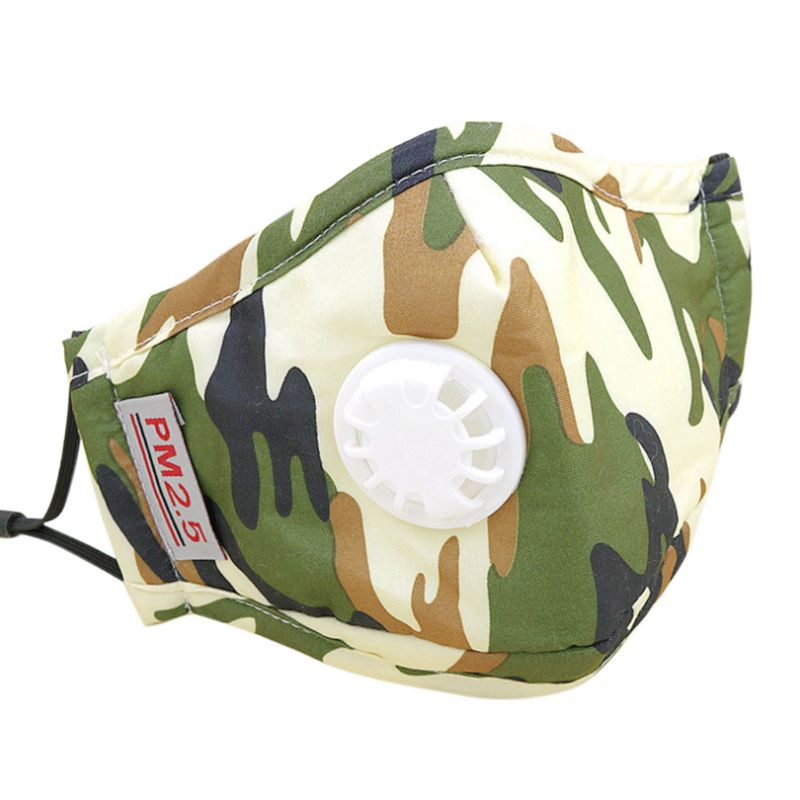 Adult Adult Unisex PM2.5 Cotton Mouth Mask Replaceable Carbon Air Filter Camouflage Printed Solid Color Mouth-Muffle Respirator