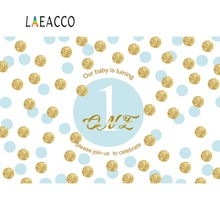 Laeacco Baby 1st Birthday Party Golden Dot Pattern Banner Photographic Backgrounds Photography Backdrops For Photo Studio