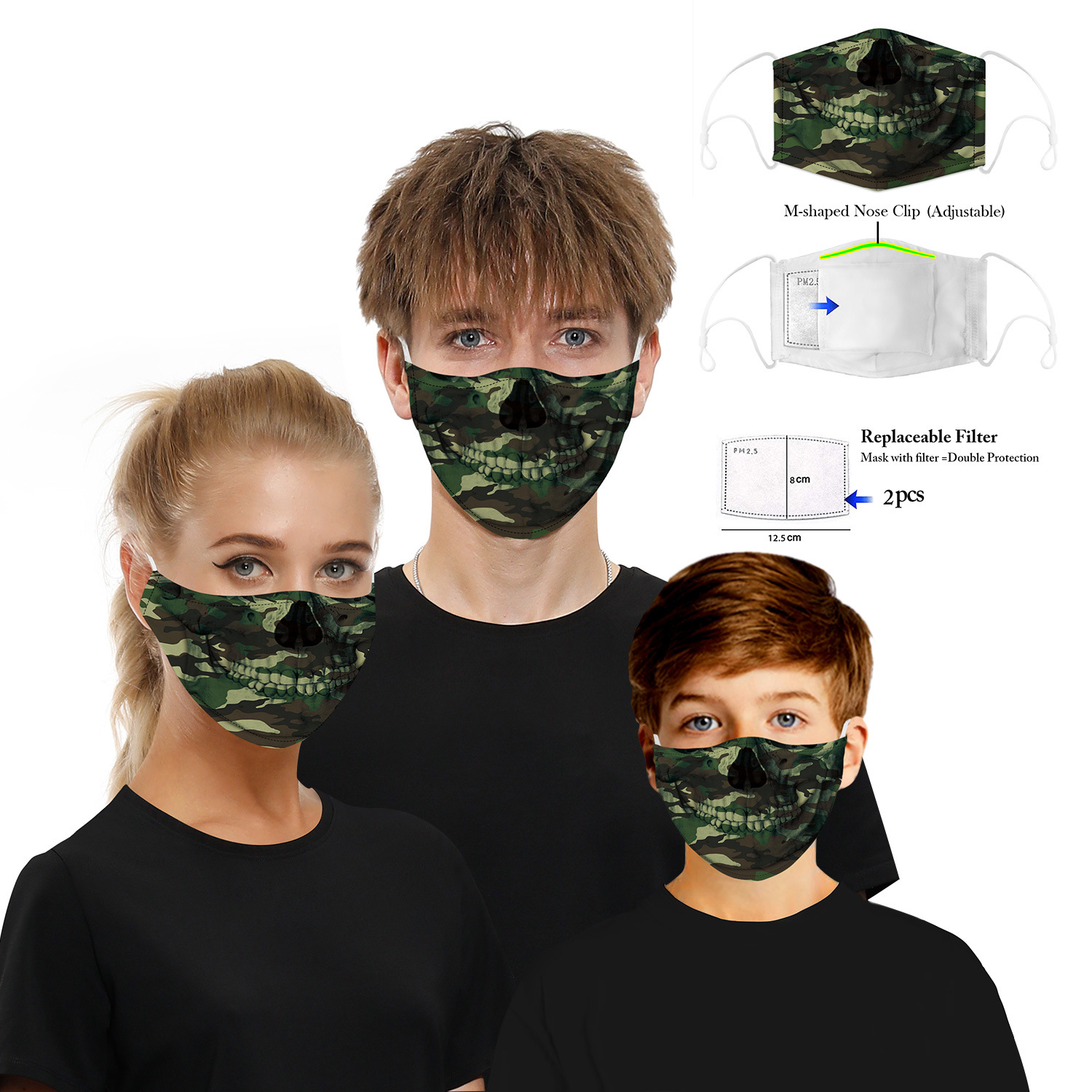 Fashion Camo Face Mask Camouflage USA Flag Pattern Outdoor Activities Windproof Dust-Proof Earloop Face Mask With 2Filters