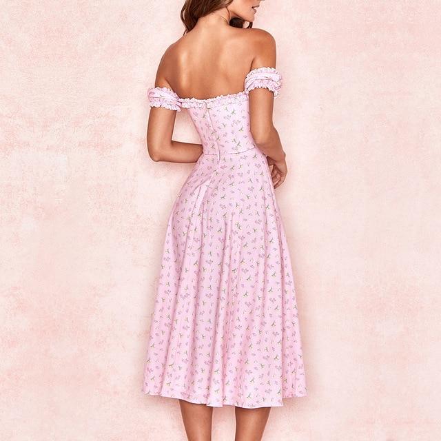 Yimunancy Floral Print Off Shoulder Midi Dress Women V Neck Elegant Dress 2020 Ladies Summer Ruched Split Party Dress Robes 5