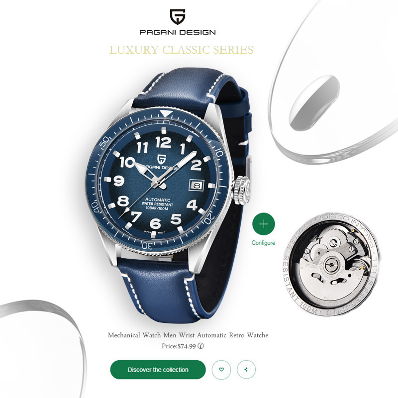 PAGANI Design 2020 New Mens Watches Top Brand Luxury Sport Mechanical Automatic Leather Waterproof Watch Men Relogio Masculino