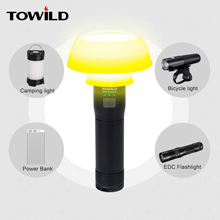 TOWILD Professional 700 Lumens Bicycle light flashlight camp power bank folding cup bicycle Accessories