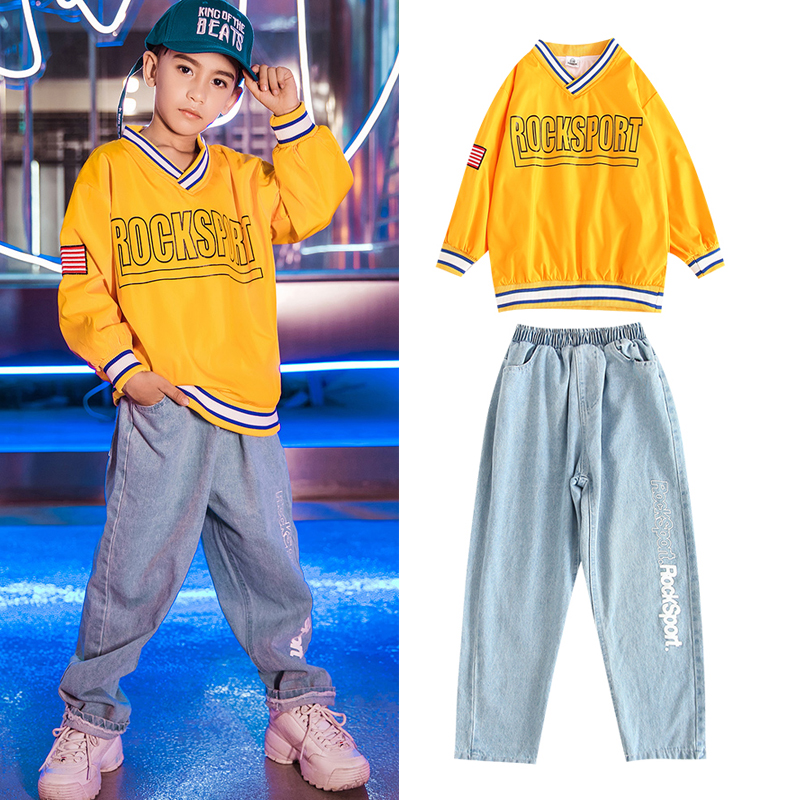 Children'S Hip Hop Clothing Street Dance Costumes Boys Loose Sweater Jeans Hiphop Jazz Dancewear Ballroom Stage Costumes DQS3460