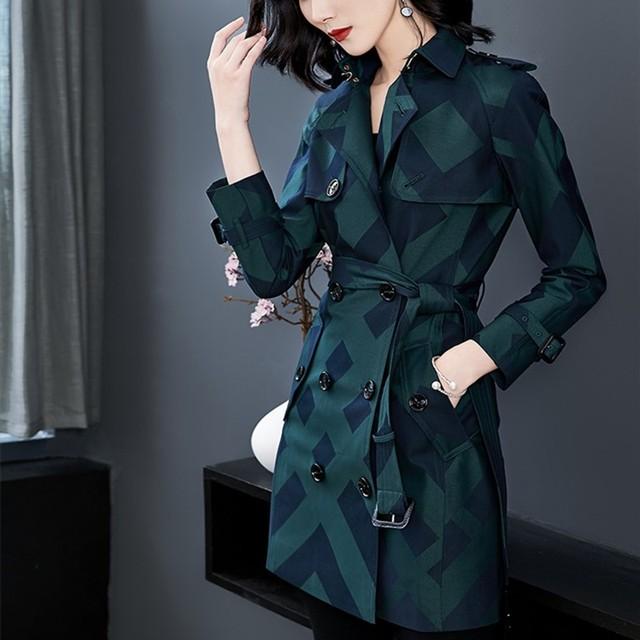 Купить женский тренч весна осень пальто средней длины клетчатая двубортная картинки цена