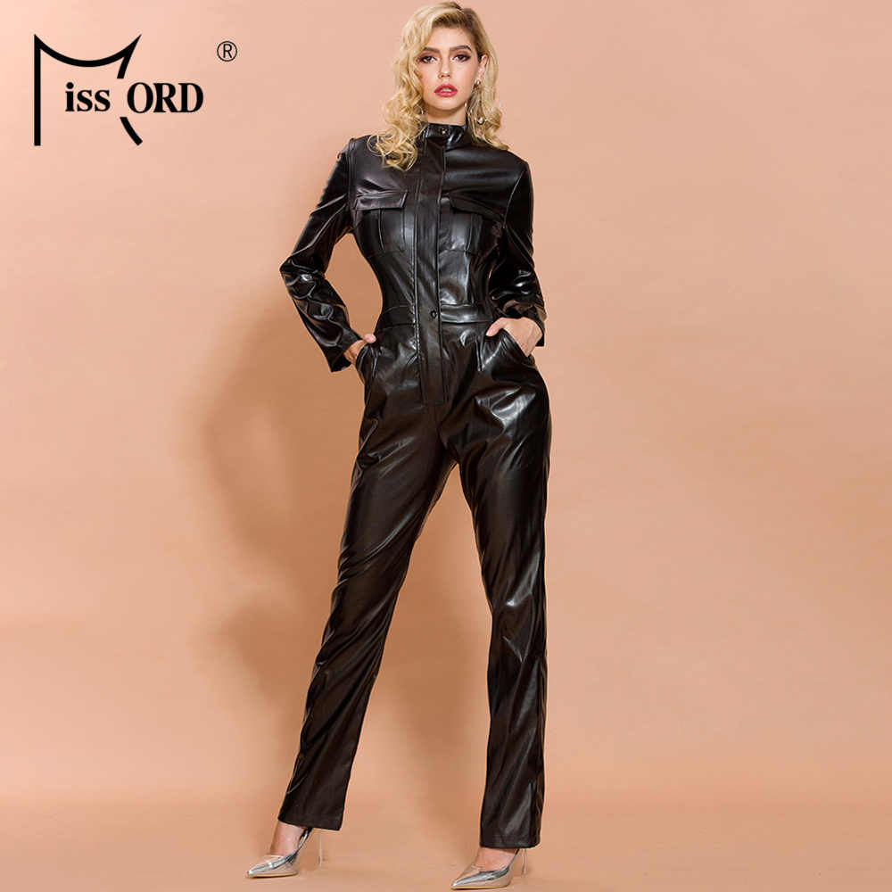 Missord 2020 Herfst En Winter Vrouwen Mode Hoge Hals Lange Mouw Elegante Latex Bodycon Jumpsuit FT19482-1