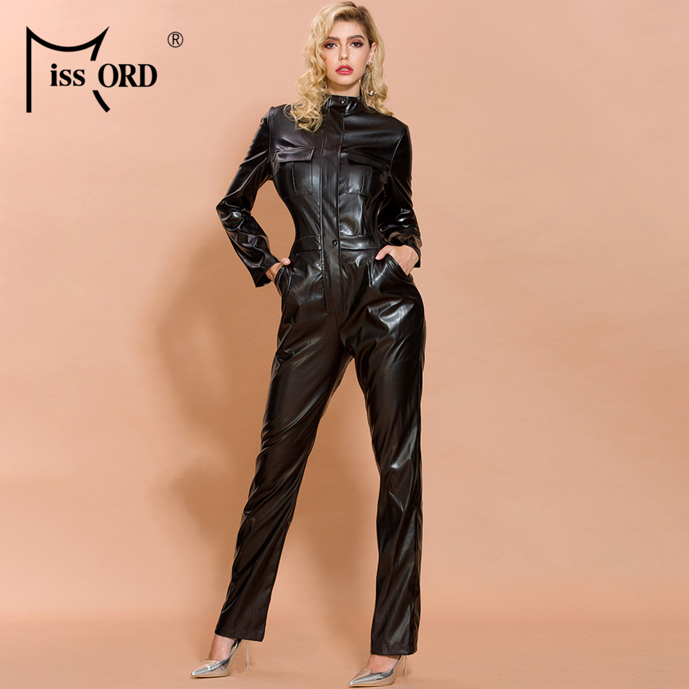 Missord 2019 Autumn And Winter  Women Fashion High Neck Long Sleeve Elegant Latex Bodycon  Jumpsuit FT19482-1