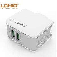 LDNIO 2 4 EINE Schnelle Lade Typ-C Dual USB Port Eu-stecker Travel Home Ladegerät Abnehmbare Stecker Für iPhone