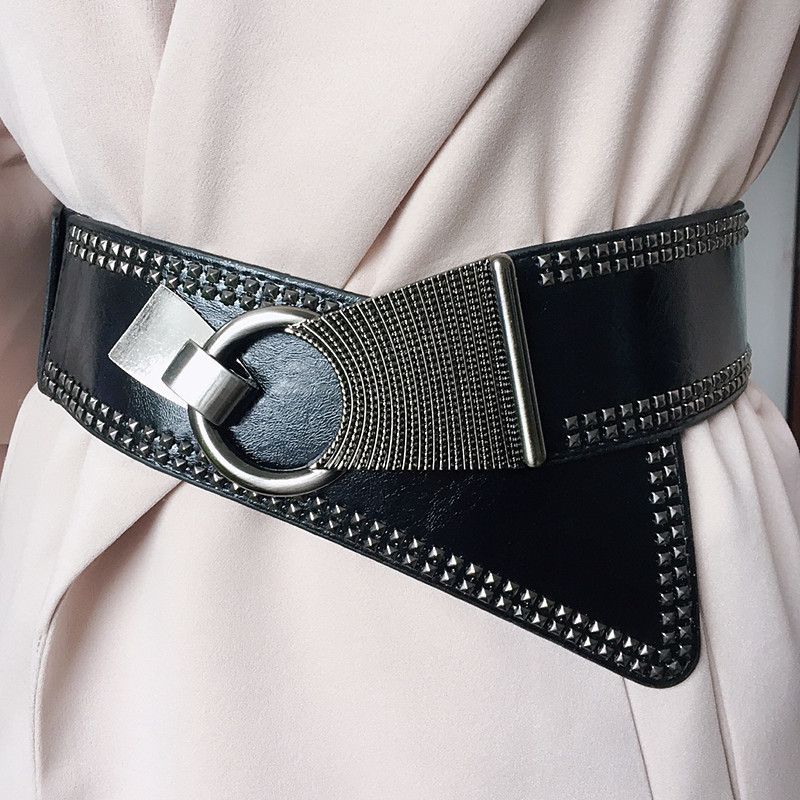 2019 Punk Style Rivets Beading Round Buckle Women Belt Female Pu Leather Super Wide 9CM Belts Ceinture Femme Leisure Cummerbunds
